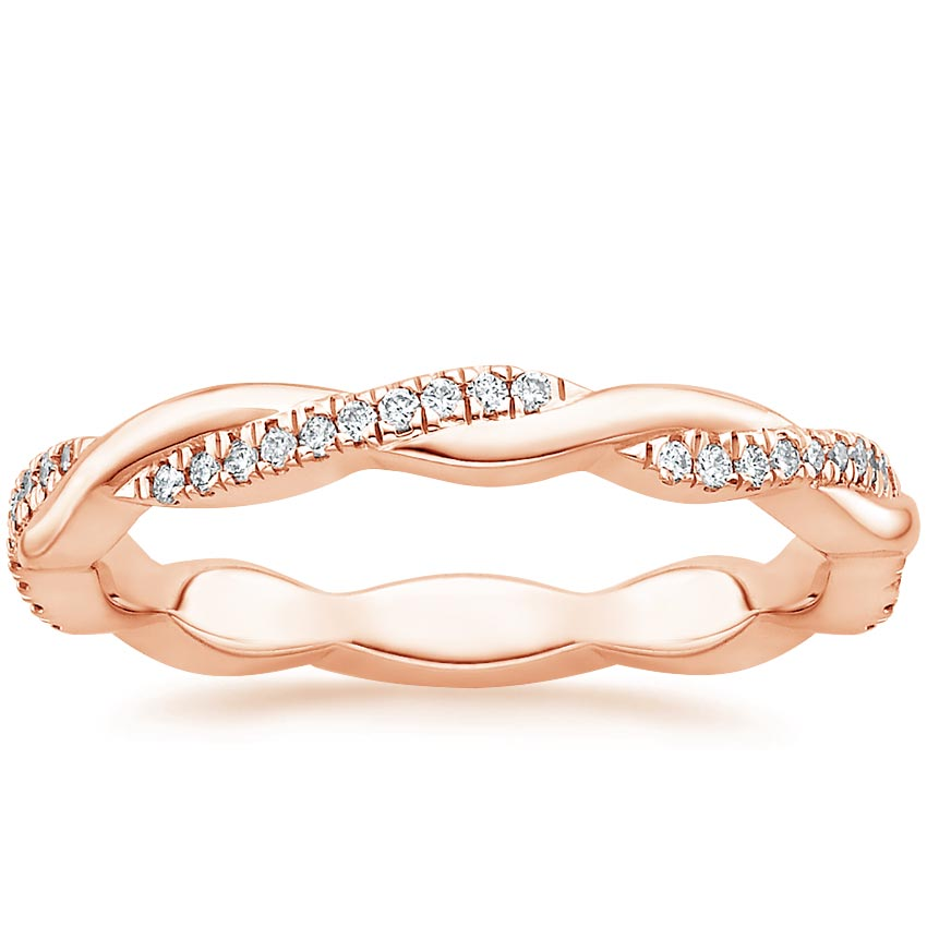 Rose Gold Petite Twisted Vine Eternity Diamond Ring (1/5 ct. tw.)