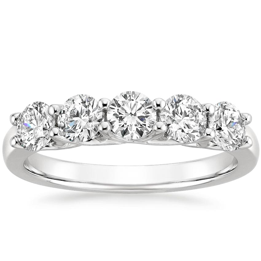 rings band stone set five engagement wedding diamond ct bezel product tw