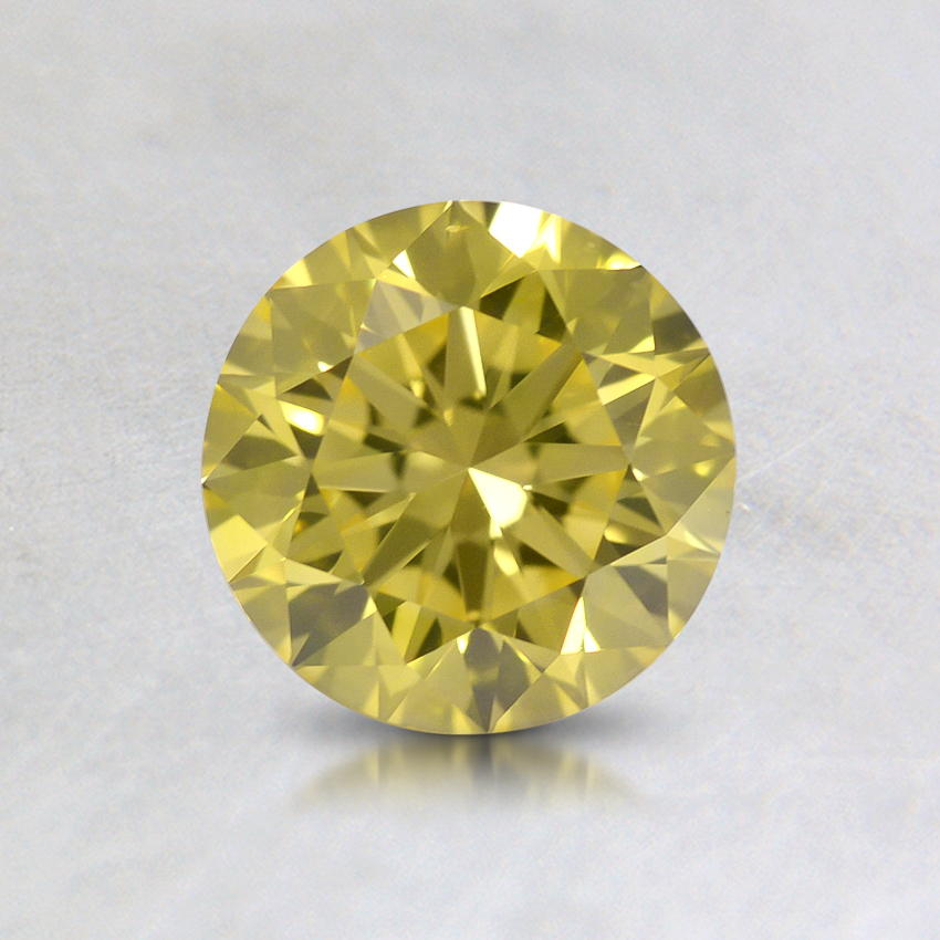 0.76 ct. Lab Created Fancy Vivid Yellow Round Diamond, top view
