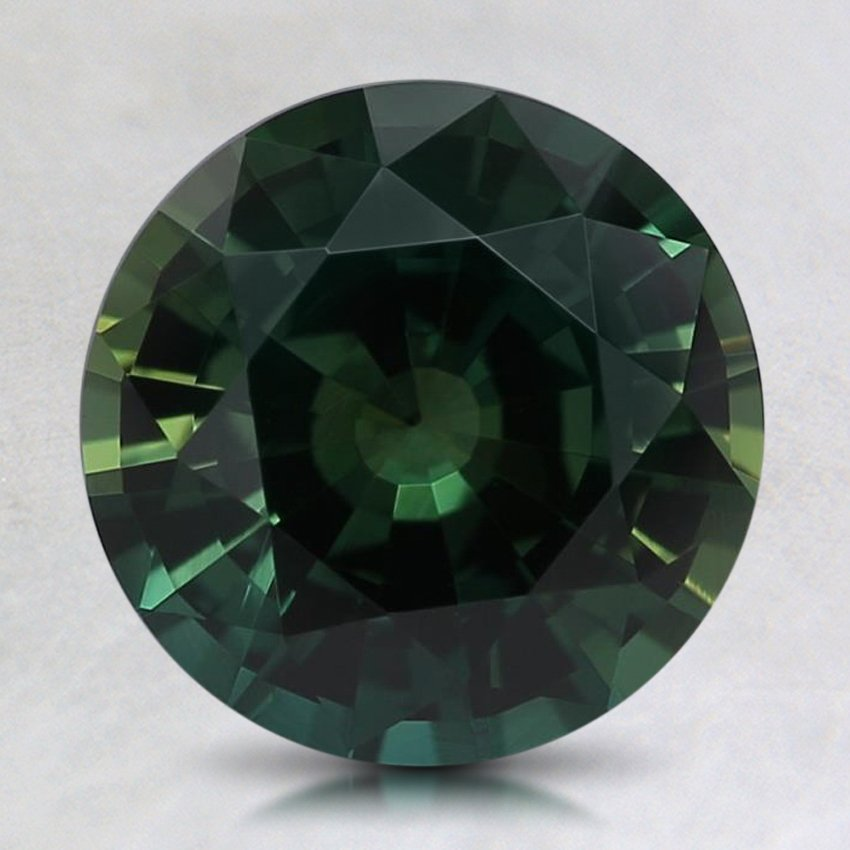 8.2mm Unheated Teal Round Sapphire, top view