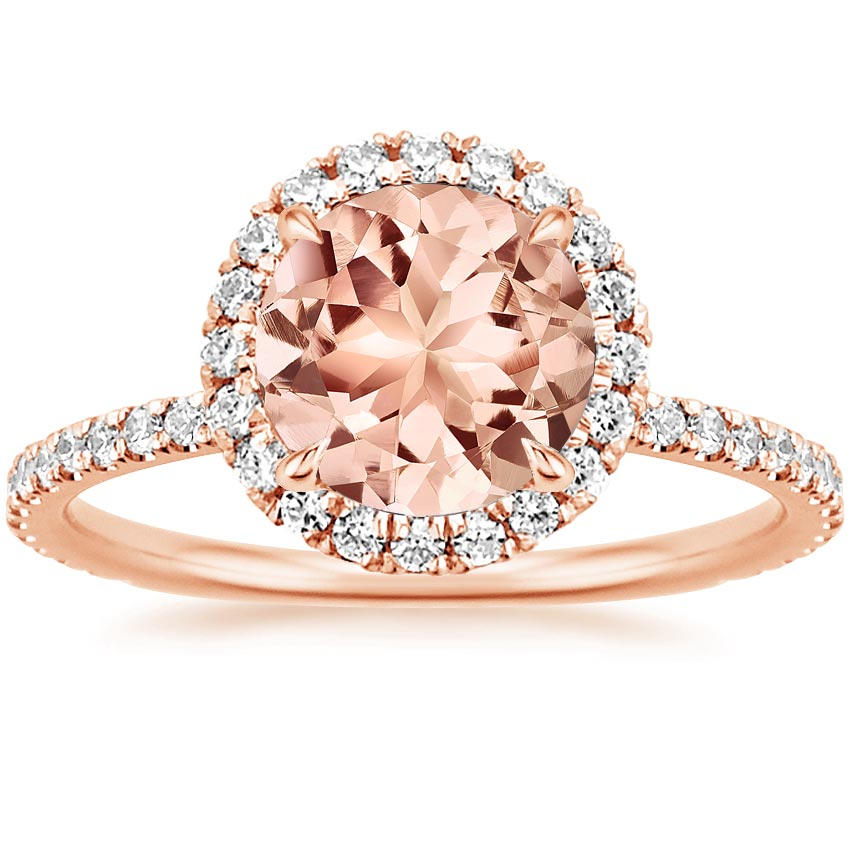 diamond with jewelry princess product cut k pink morganite ring pave christine