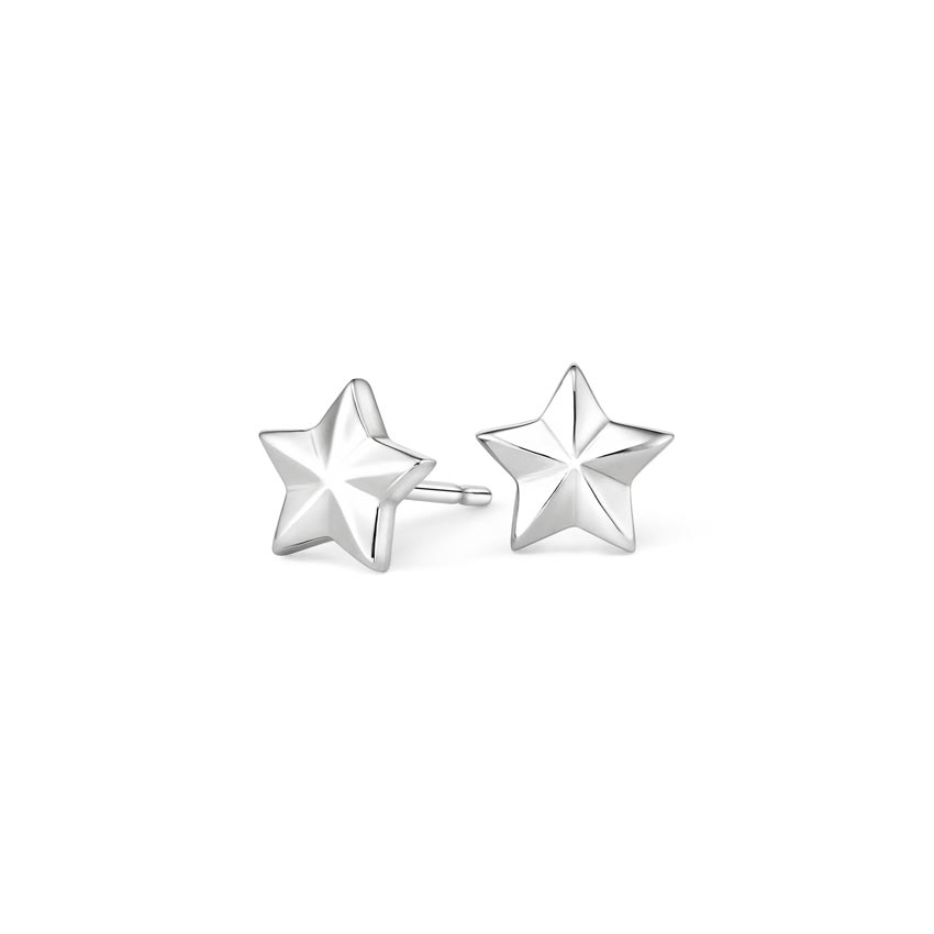 Star Stud Earrings in 18K White Gold