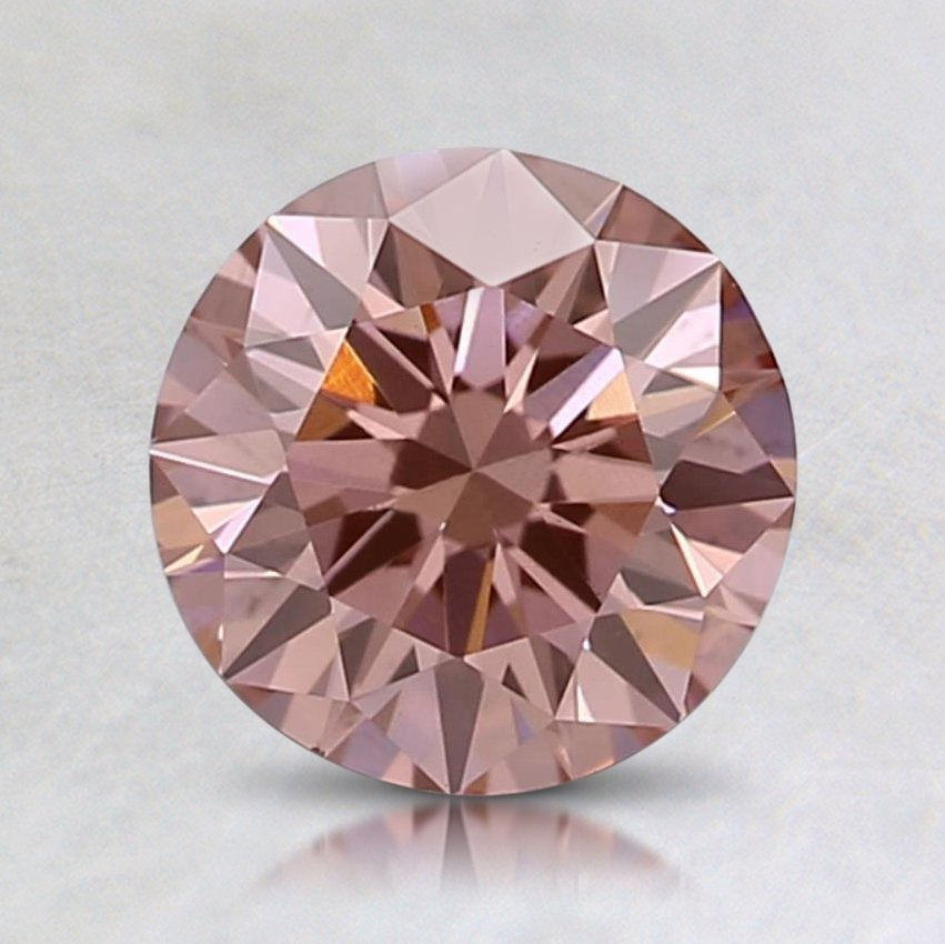 0.58 Ct. Lab Crated Fancy Orangy Pink Round Diamond
