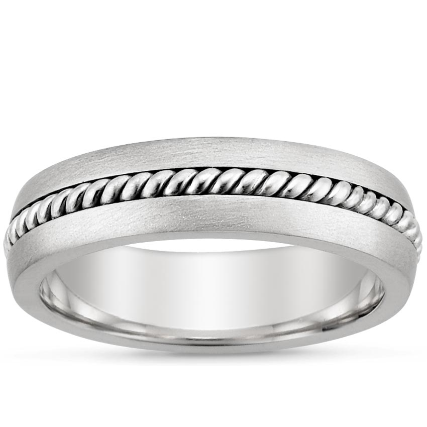 Platinum Entwined Inlay Wedding Ring, top view