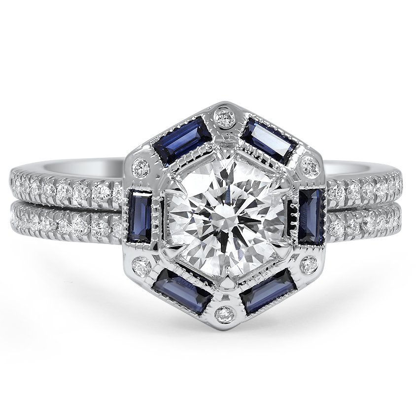 Custom Diamond and Sapphire Hexagonal Halo Diamond Ring