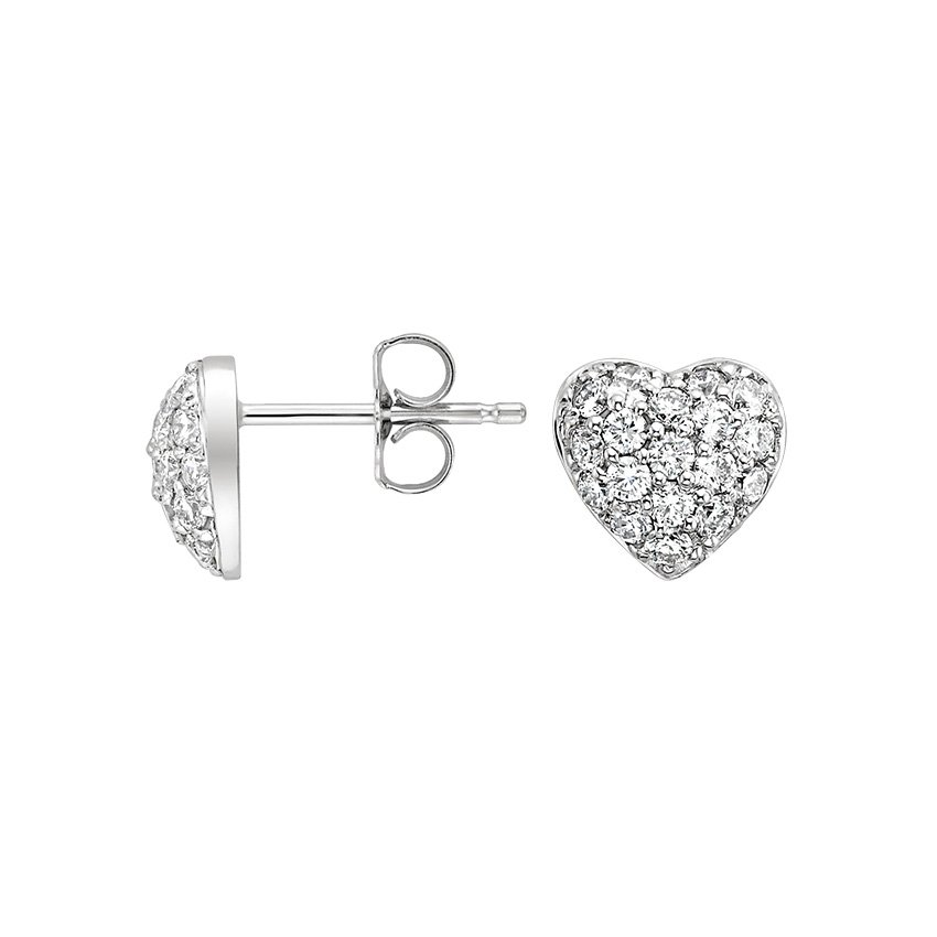 18K White Gold Pavé Heart Diamond Stud Earrings, top view