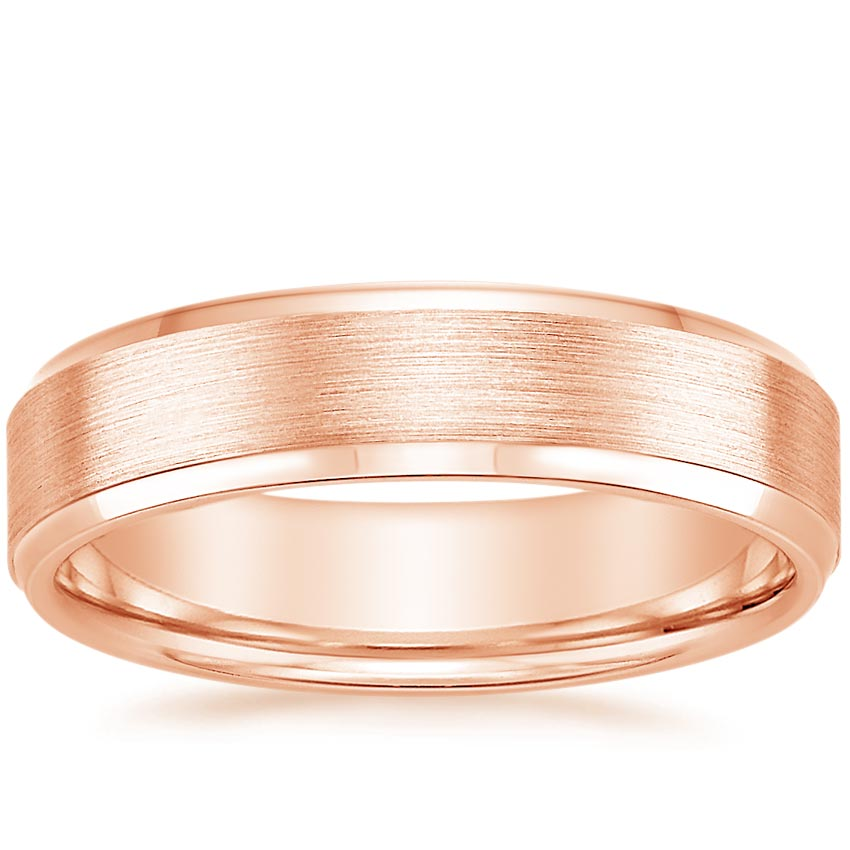 Rose Gold 5.5mm Beveled Edge Matte Wedding Ring