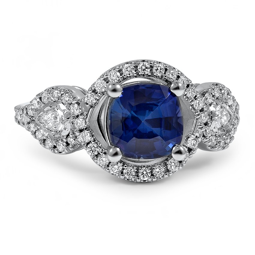 Custom Trio Sapphire and Diamond Ring