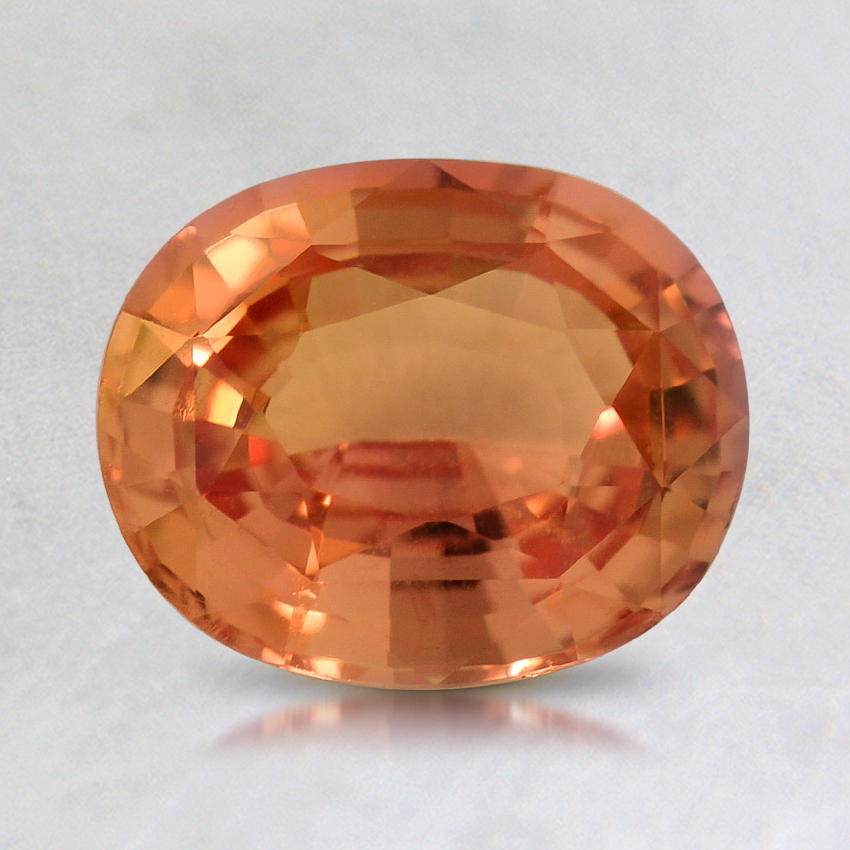 8.0x6.5mm Peach Oval Sapphire, top view