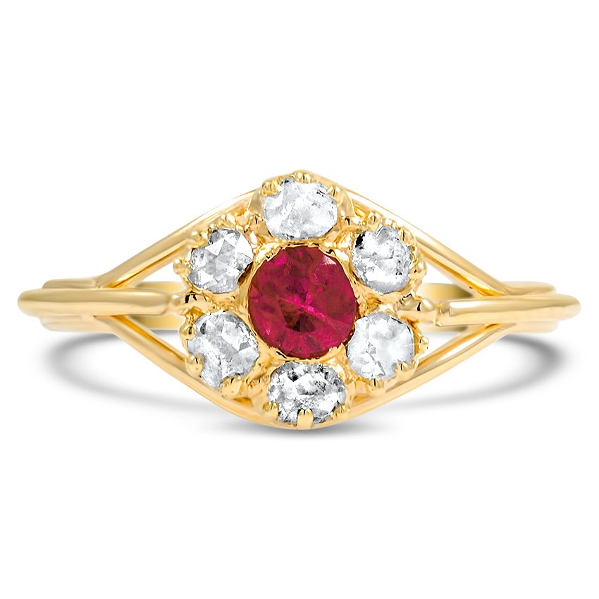 The Belle Rose Ring, top view