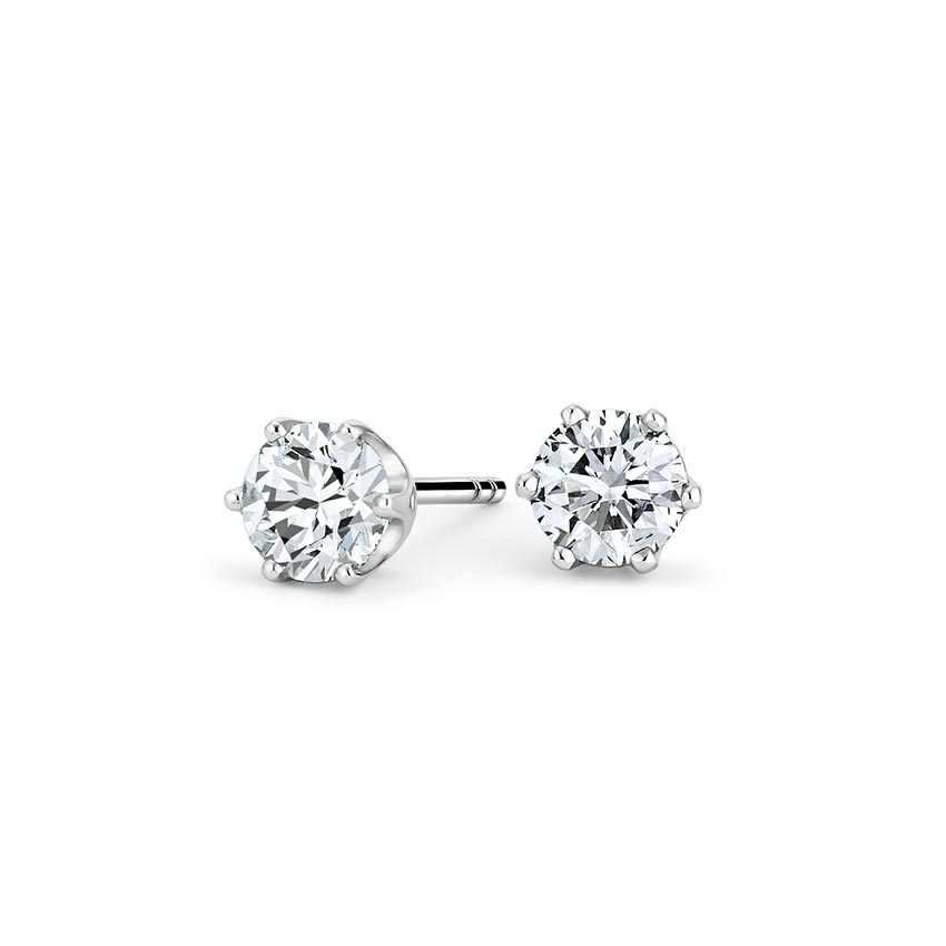 Six Prong Diamond Stud Earrings (1 ct. tw.) in 18K White Gold