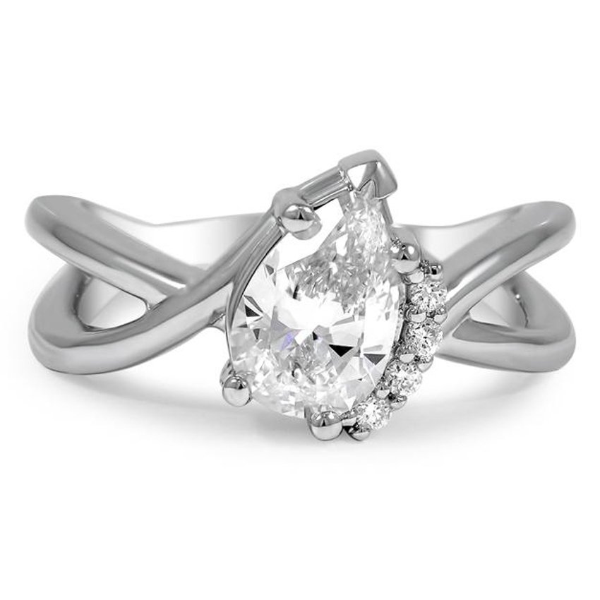Custom Asymmetrical Pear Diamond Accent Ring