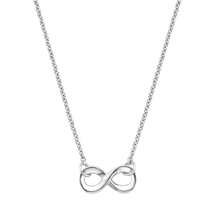 18K White Gold Infinity Pendant, top view