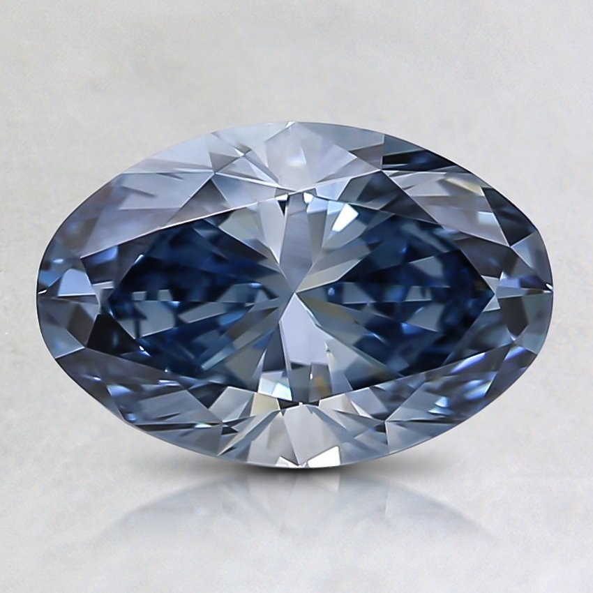 1.29 Ct. Fancy Intense Blue Oval Lab Created Diamond