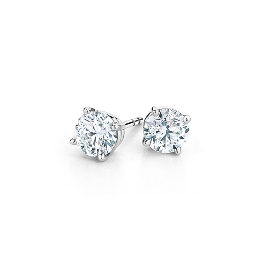 Four-prong Round Diamond Stud Earrings in 18K White Gold
