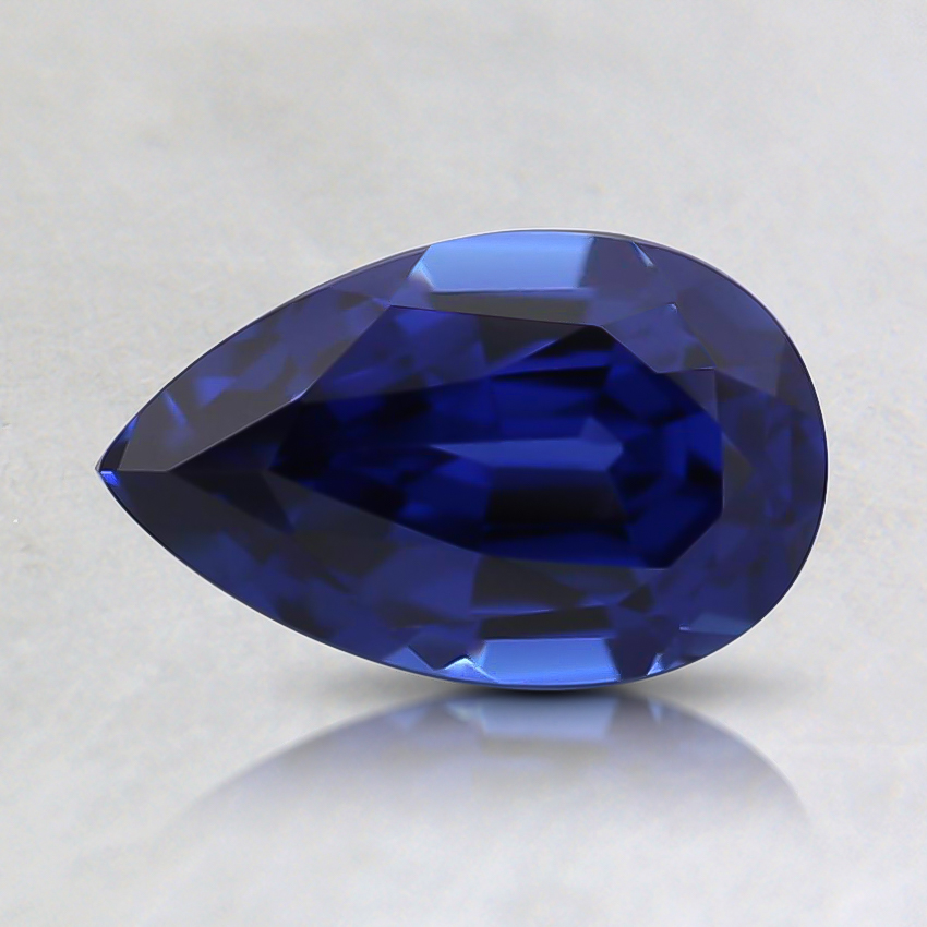 8x5mm Blue Pear Lab Created Sapphire