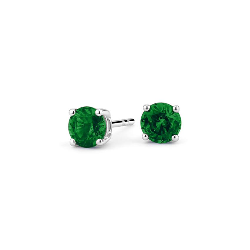 Emerald Stud Earrings in 18K White Gold