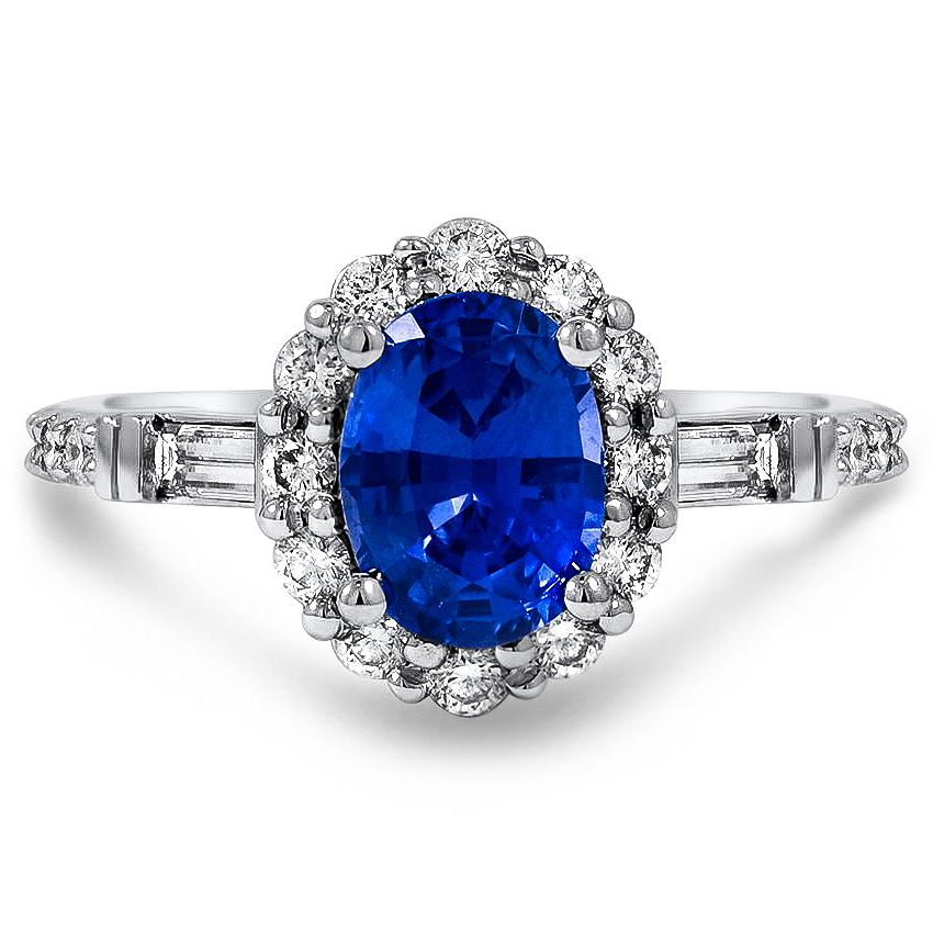 Custom Vintage-Inspired Sapphire and Diamond Ring with Floral Halo
