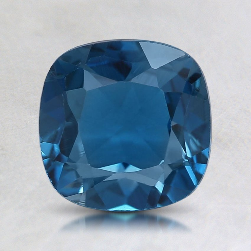 8mm London Blue Cushion Topaz, top view