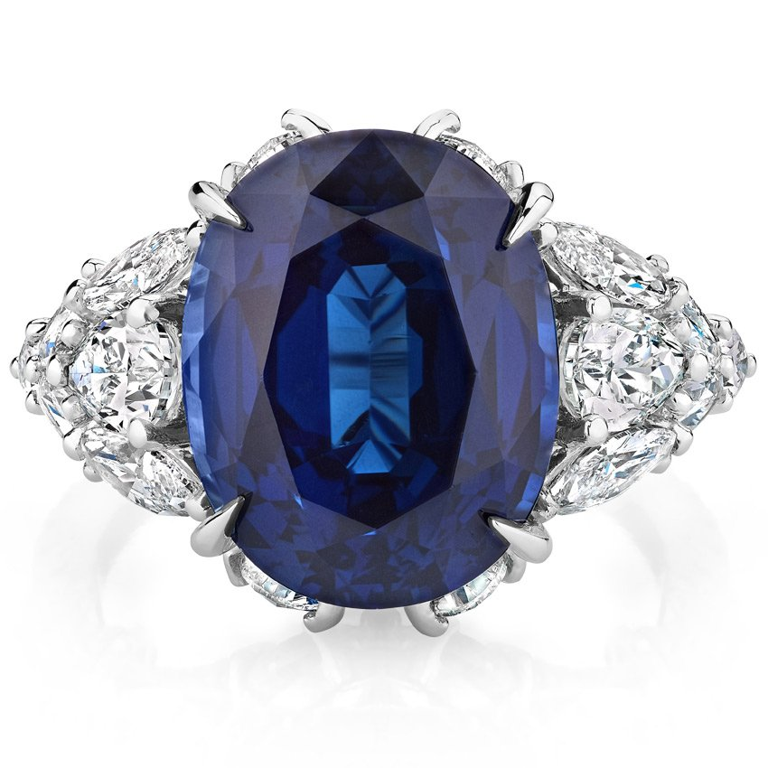 cocktail p solid ring vintage certified natural sapphire gold blue diamond