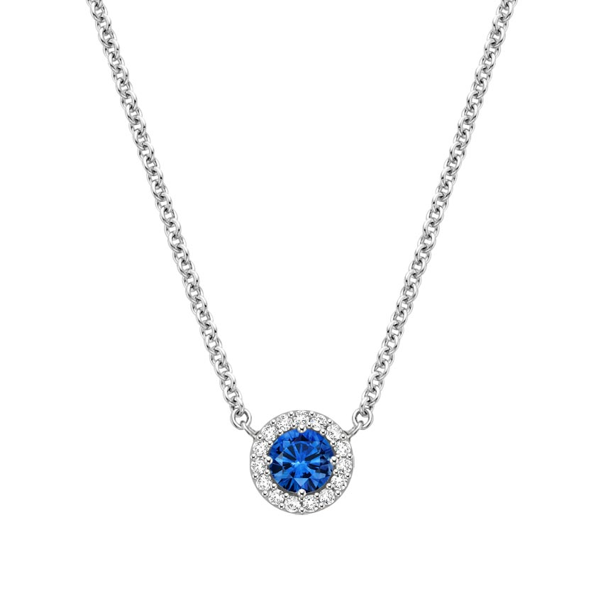 Sapphire Halo Diamond Pendant in 18K White Gold