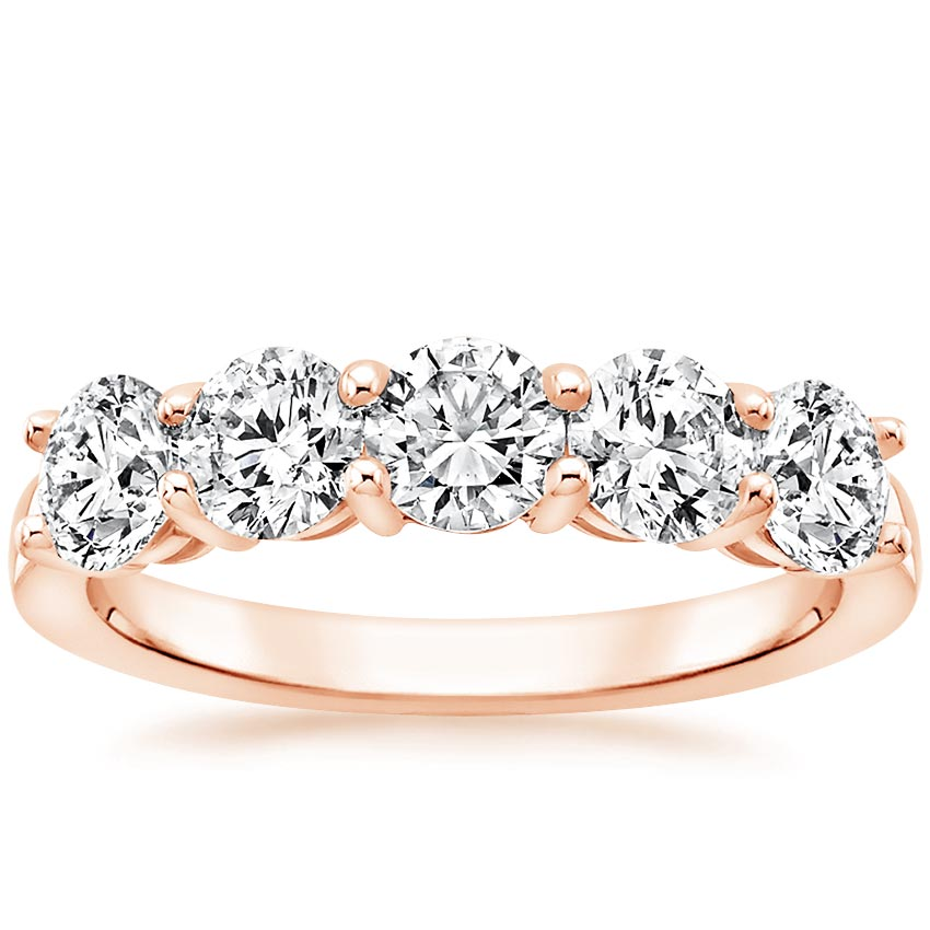 Rose Gold Round Five Stone Diamond Ring (1 1/2 ct. tw.)