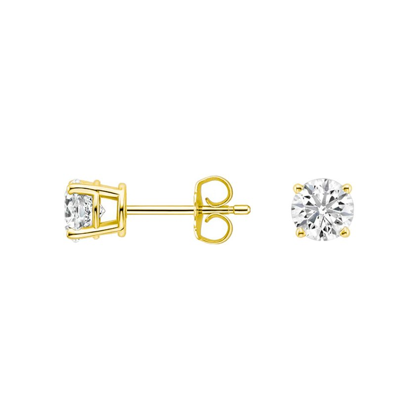 18K Yellow Gold Round Diamond Stud Earrings (1/2 ct. tw.), top view