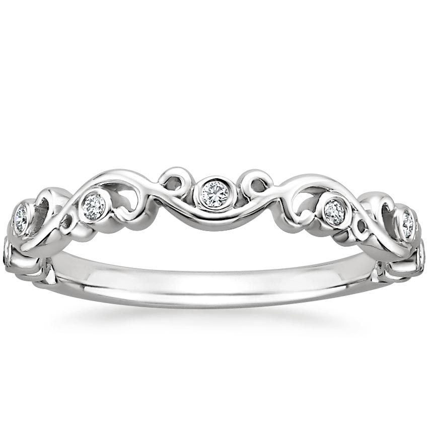 Petite Ivy Scroll Diamond Ring In 18k White Gold