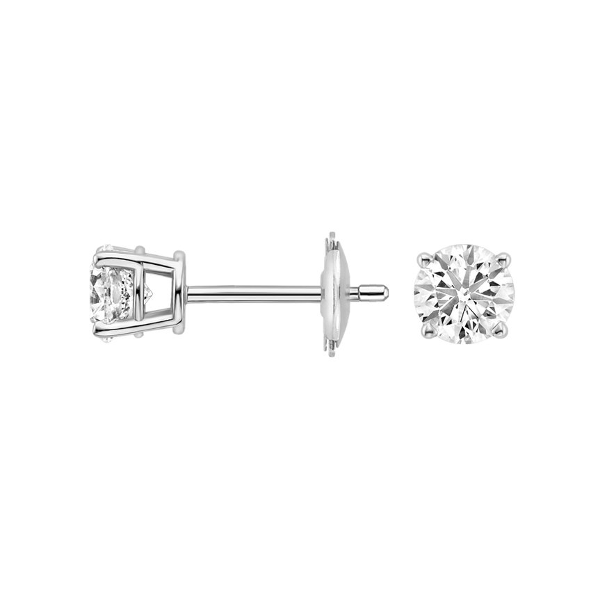 18K White Gold Four-prong Round Diamond Stud Earrings, top view