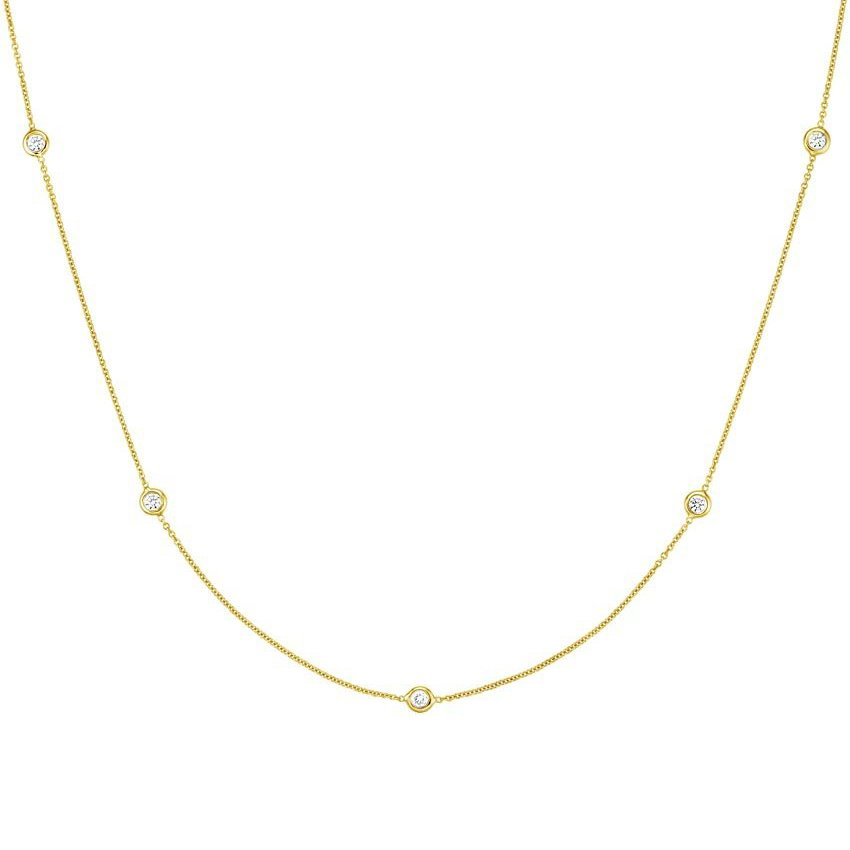 Bezel Diamond Strand Necklace (1/3 ct. tw) in 18K Yellow Gold