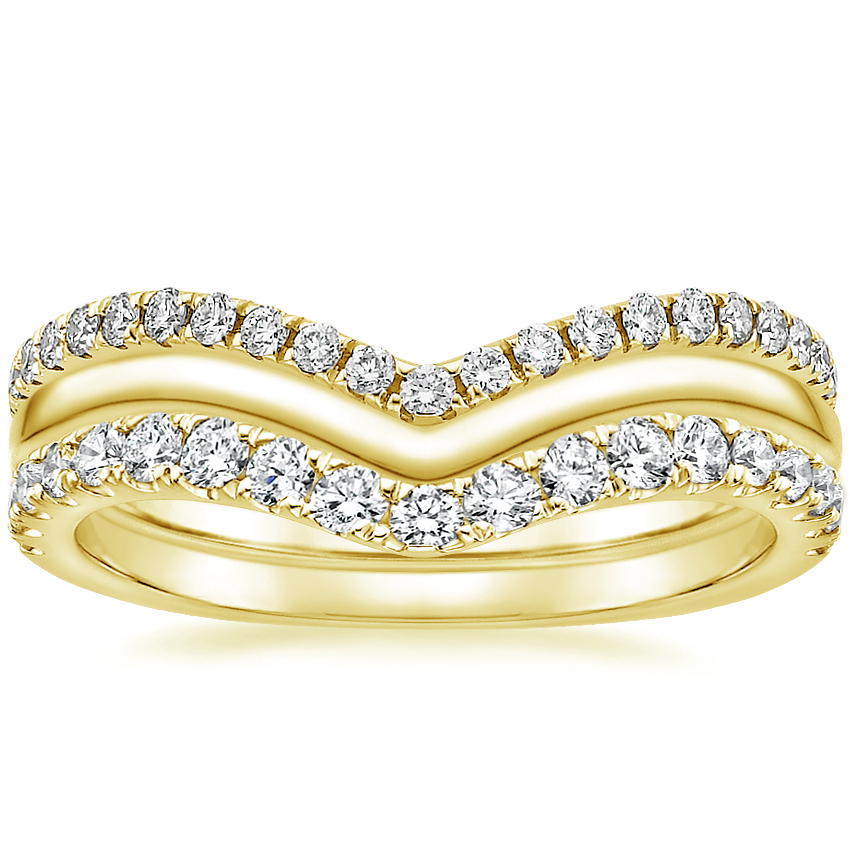 Yellow Gold Chevron Diamond Ring Stack (1/2 ct. tw.)