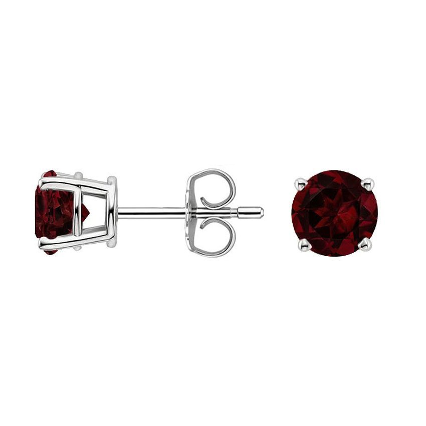 Top Twenty Gifts - SILVER GARNET STUD EARRINGS (6MM)