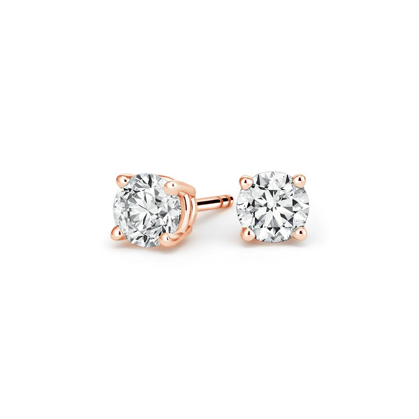 14K Rose Gold Four-prong Round Diamond Stud Earrings, top view