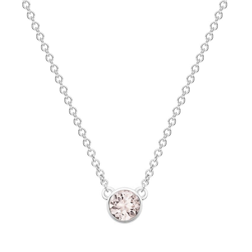 Silver Morganite Bezel Necklace  dcc3fc211