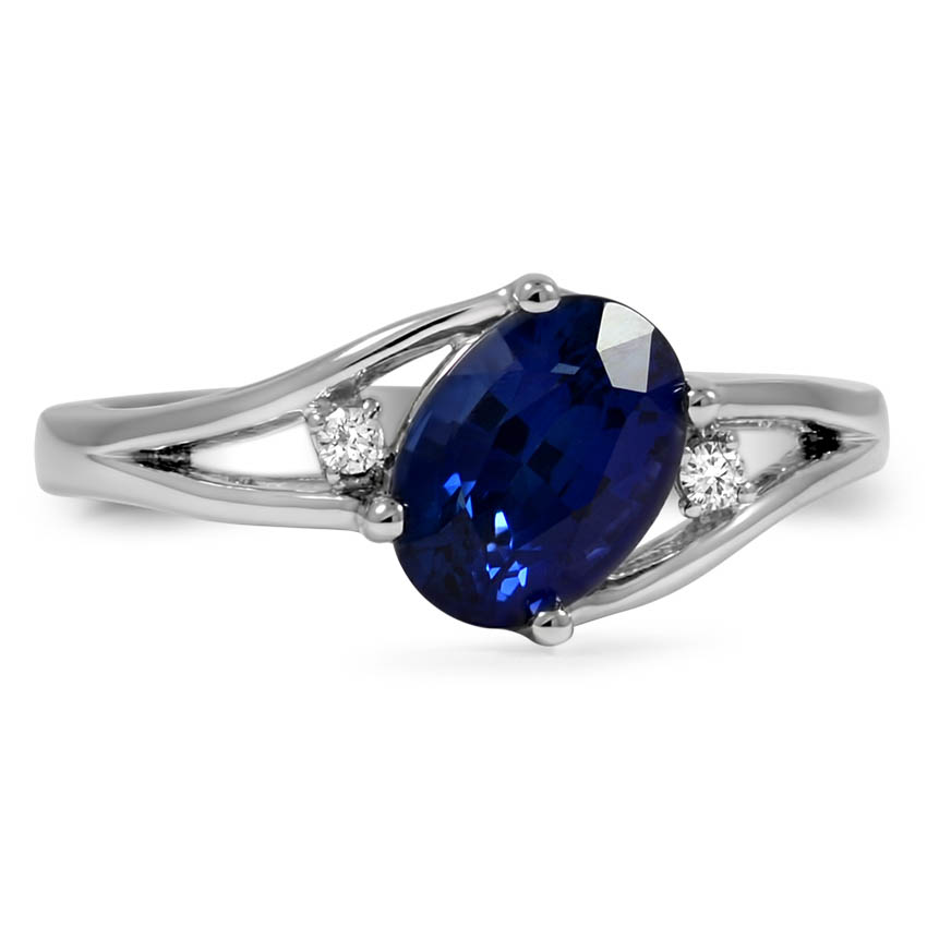 Custom Oval-shaped Sapphire Split Shank Ring with Diamond Accents