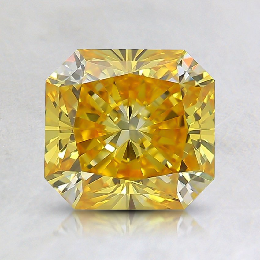 1.52 Ct. Fancy Vivid Orangy Yellow Radiant Lab Created Diamond
