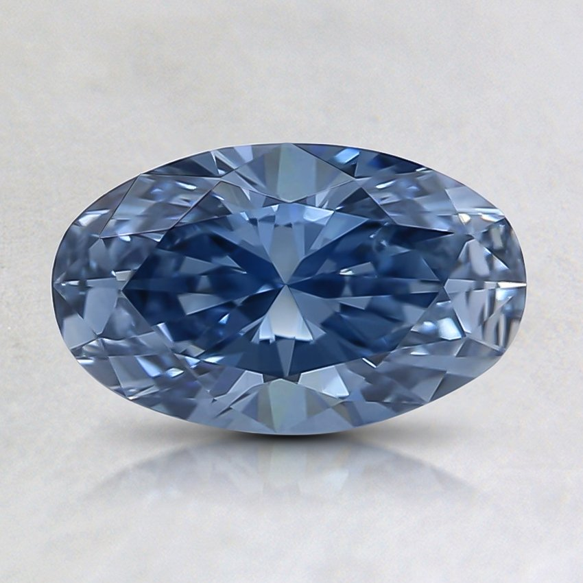 0.85 Ct. Fancy Intense Blue Oval Lab Created Diamond