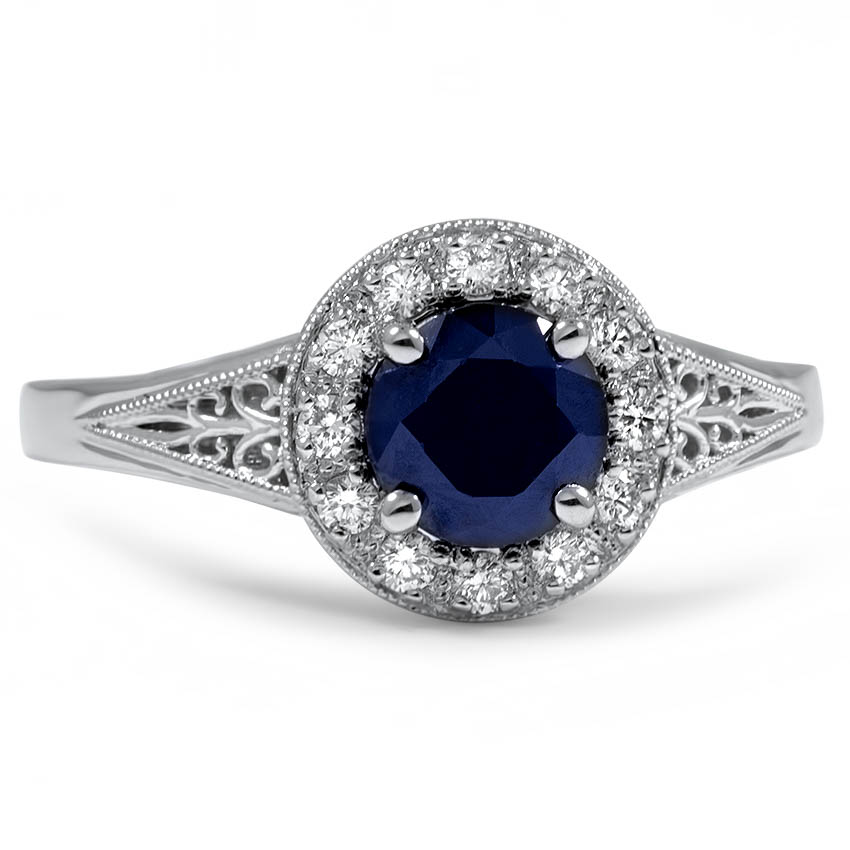 Custom Sapphire and Diamond Halo Ring with Vintage Details