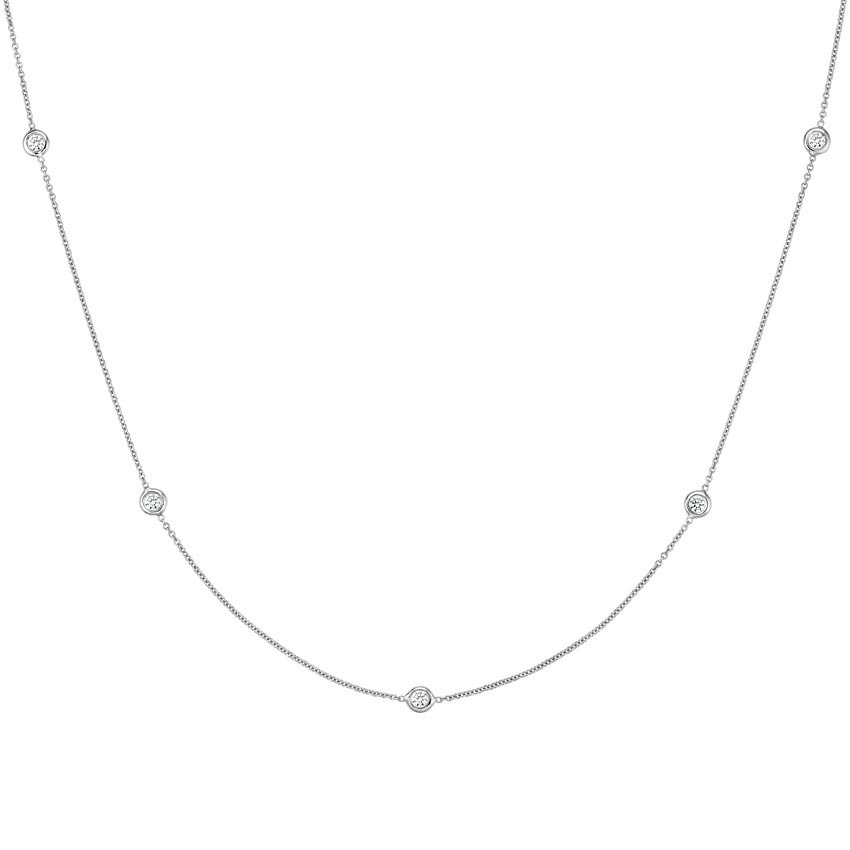 Bezel Diamond Strand Necklace (1/3 ct. tw) in 18K White Gold