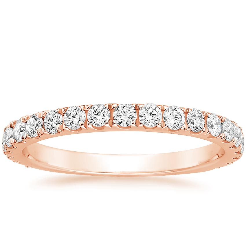 Rose Gold Scalloped Pavé Wedding Band