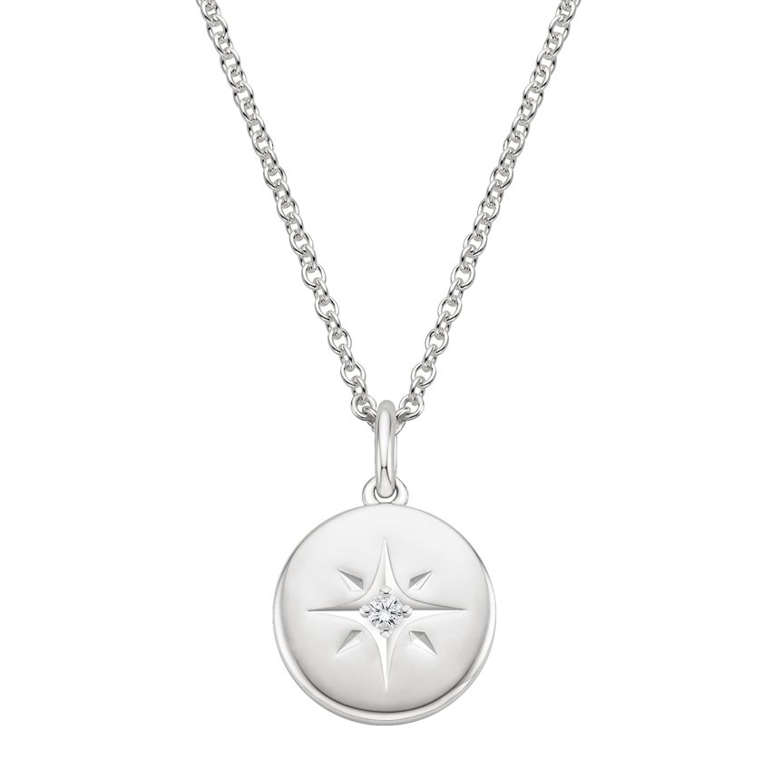 north sterling star compass necklace real working pendant silver