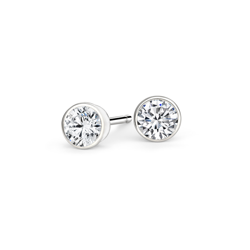 Platinum Bezel-Set Round Diamond Stud Earrings, top view
