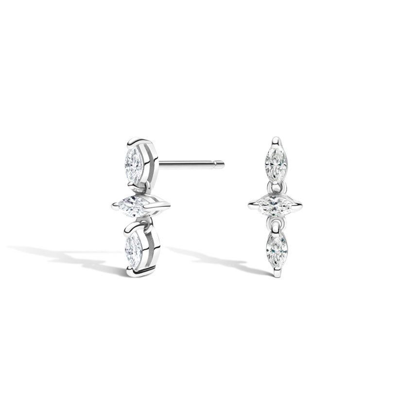 Three Marquise Diamond Earrings