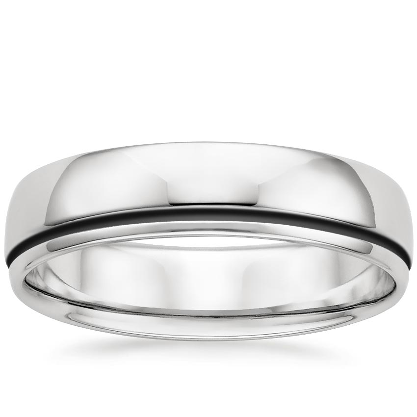 Grooved Black Rhodium Wedding Ring