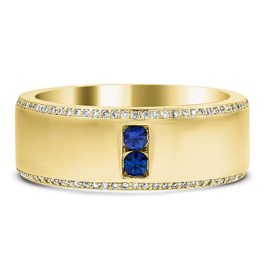 Custom Diamond Encrusted Wedding Band with Sapphire Accents