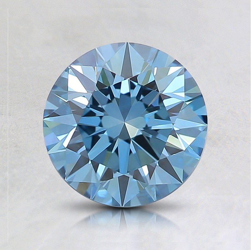 1.02 Ct. Fancy Intense Bluish Green Round Lab Created Diamond