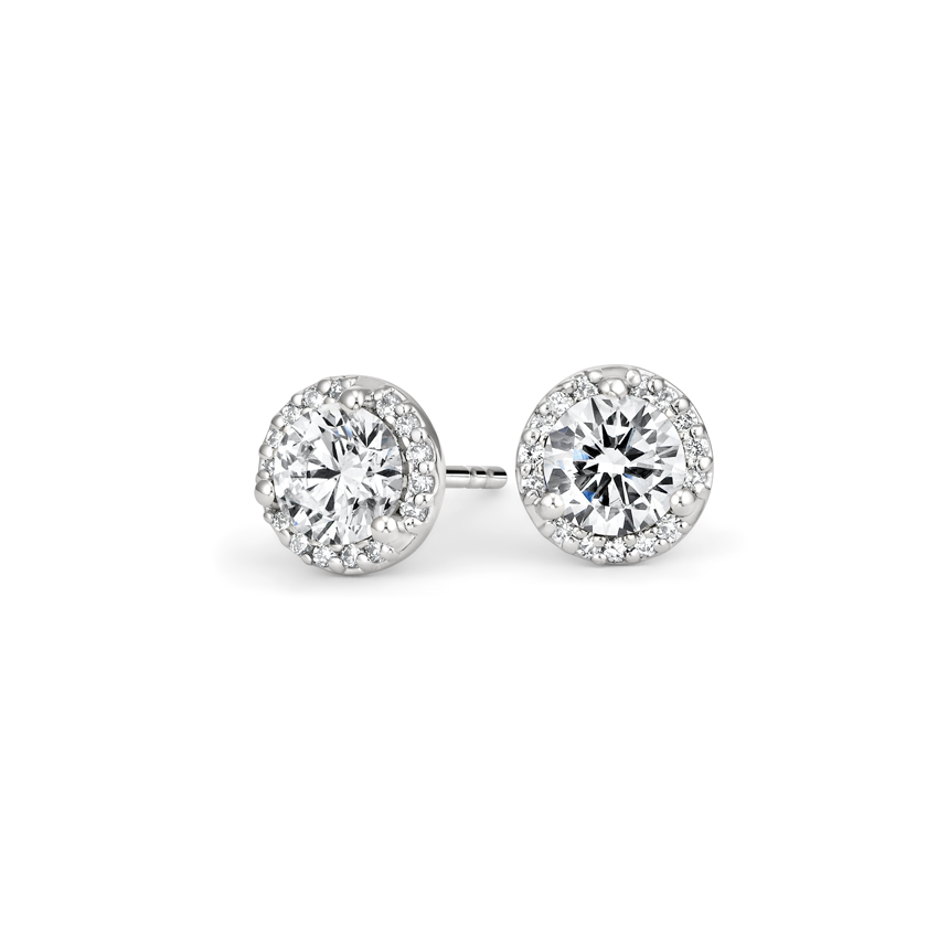 Luxe Diamond Halo Earrings (1 1/10 ct. tw.) in 18K White Gold
