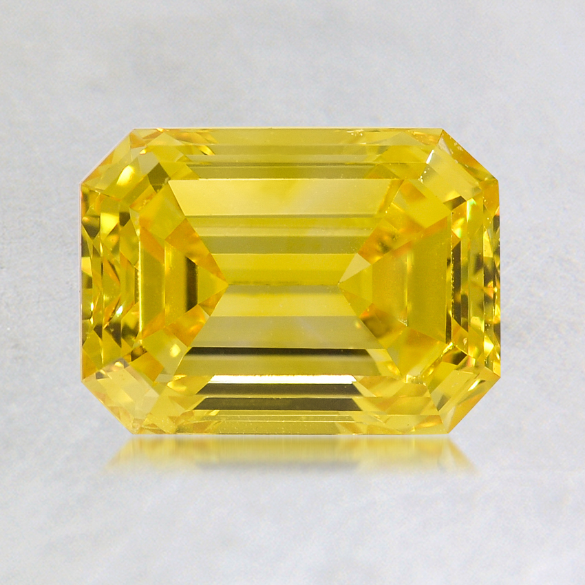 1.34 ct. Lab Created Fancy Vivid Yellow Emerald Diamond, top view