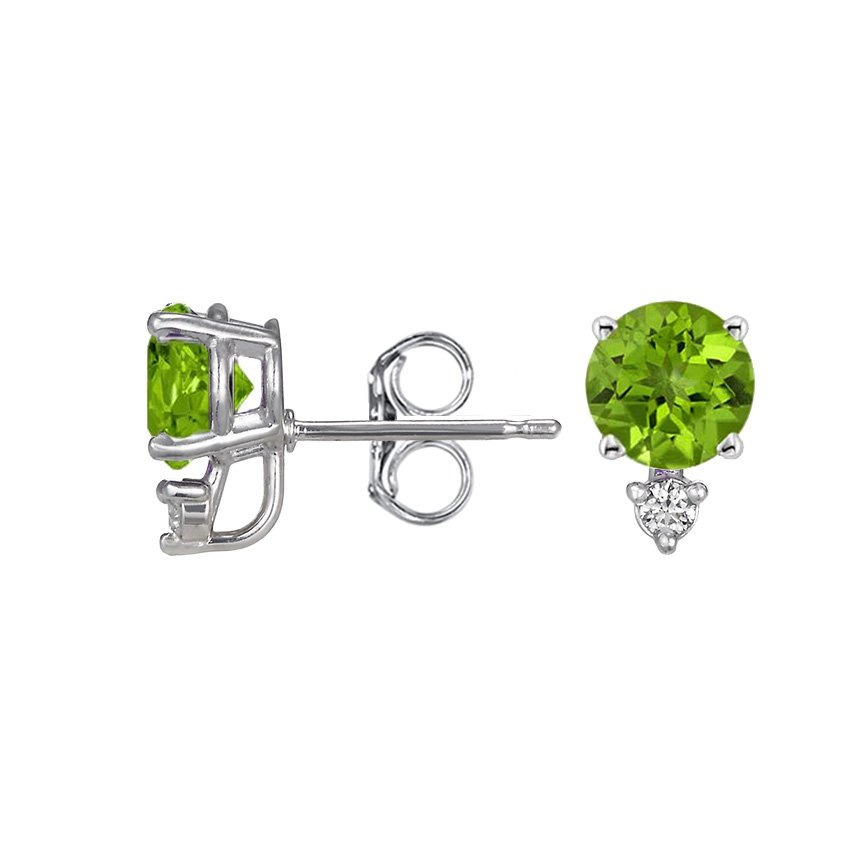 Silver Peridot and Diamond Stud Earrings (6mm), top view