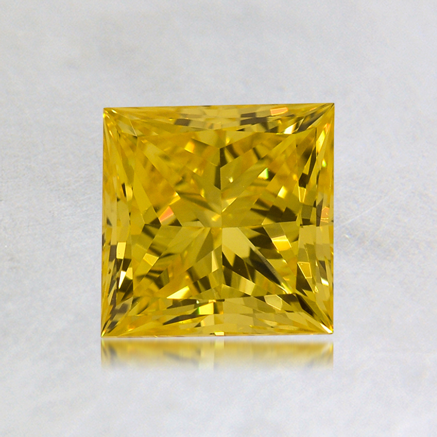 1.06 ct. Lab Created Fancy Vivid Yellow Princess Diamond, top view